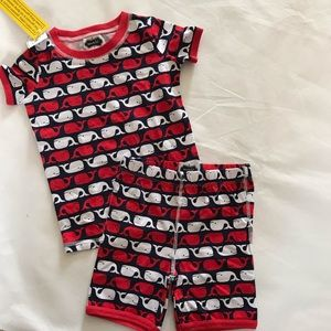 Mud Pie blue red whale pajama set top/shorts 5 NWT